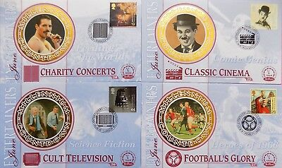 BENHAM FIRST DAY COVERS ENTERTAINERS x 4 MILLENIUM COUNTDOWN 1999 Dr WHO/MERCURY