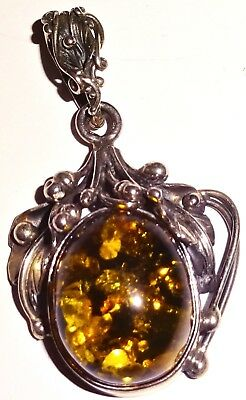 BEAUTIFUL Antique ART NOUVEAU Handmade AMBER Sterling Silver PENDANT~LOT #3! NR!