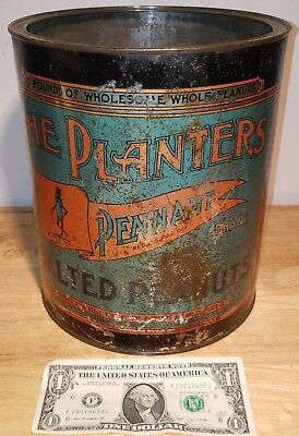 Planters Peanuts Pennant 10 Pound Salted Peanut 1920's 1930's Advertising Tin