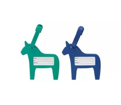 IKEA VINTER 2017 Luggage Tag Blue Green Horses 2 Pieces Name Phone Numbers Label