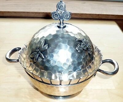 Meriden B. Co. Ornate Dragonfly Floral Designed 3-Piece Butter Dish Silverplate