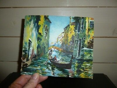 A Small Antique or Vintage Oil Painting on Board Of A Gondola in Venice-c1920