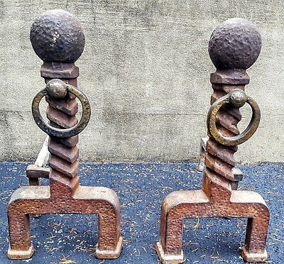 """Antique Vintage CAST IRON Fireplace ANDIRONS 18"""" Tall Cannon Ball Top"""