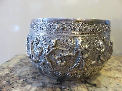 Authentic C.1800's Burmese Solid Silver Highly Decorated Repousse Thakeik Bowl