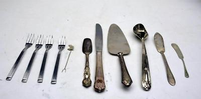 Antique Vtg Mixed Makers Lot of 11 Pieces Flatware Silverplate Utensil Servers