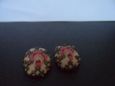 vintage beautiful Embroidery Clip On Earrings 1950s 1960s