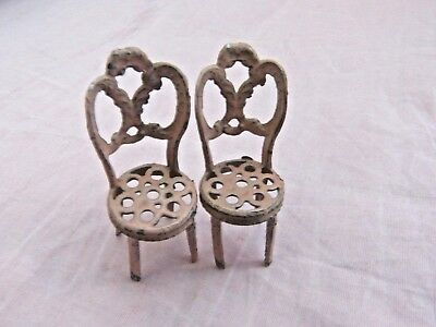 Dolls' House Miniatures - 2 X Vintage Small Scale Pink Metal Chairs