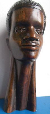 African Wood Carving: Head And Neck Of An Adult Male, In Dark Wood.
