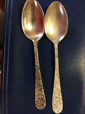 Lot Of Two(2) Repousse Solid Sterling Silver  Individual  Tea Spoons