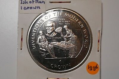 Isle Of Man, 1 Crown, Inventions Of The World, Gramophone, Berliner, 1996 Unc