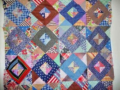 Antique Vintage SQUARE in a SQUARE Quilt Top with 1920-40's Feedsack Prints
