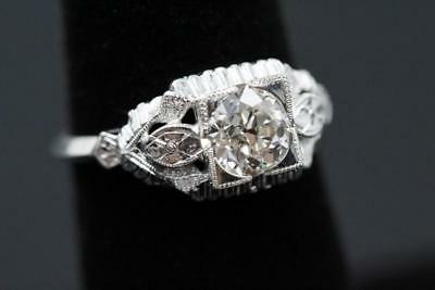 Art Deco European Cut .99Ct Diamond 14K White Gold Flower Design Engagement Ring