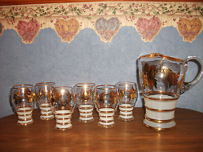 Vtg. Elegant Frosted & Gold Pitcher & 6 Glasses w/ Gold Leaves- Barware Set
