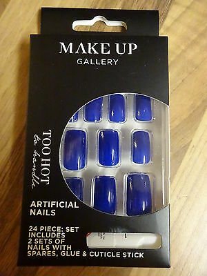 Make-Up Gallery Too Hot Blue False Nails 24 Piece & Glue Party New