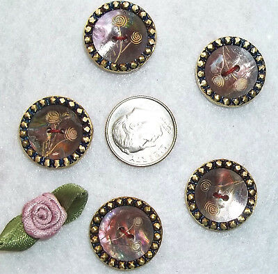 "Lot, 5 brass etched pearl victorian buttons 3/4"" vintage antique matching set"