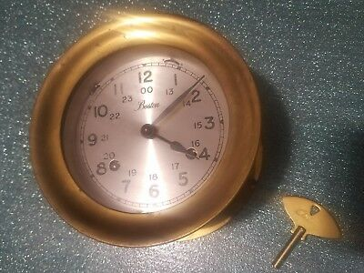 Vintage Chelsea Co Shipstrike Ships Bell Strike Nautical Clock w/key 5-3/4