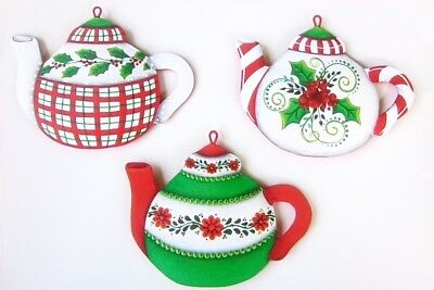 """Robin Mani pretty tole painting pattern packet """"Christmas Teapots"""""""