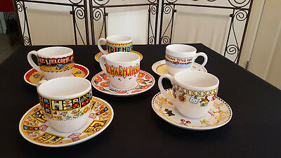 Mary Engelbreit Rare Set 6 Teacups & Saucers Home Friends Cherries Welcome Cheer