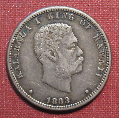 1883 Hawaii Quarter Dollar - Scarce One Year Type, Strong Details, Very Nice!