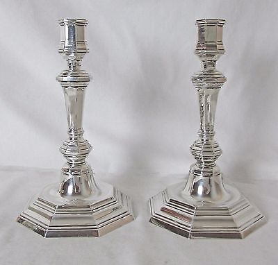 Pr Silver Plated French Christofle Candlesticks Queen Anne Style Elegant