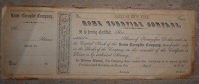 1820s Capital Stock Certificate Rome New York Turnpike Company Plank Road Oneida