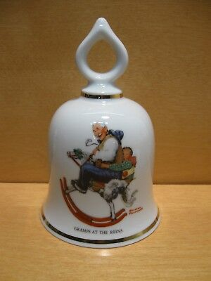"""Vintage Norman Rockwell  Bell """"GRAMPS AT THE REINS"""" 1979 On Rocking Horse"""