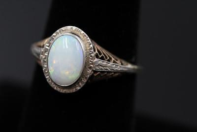 Art Deco 14K Yellow & White Gold Filigree Very Bright Fire Opal Size 7.5 Ring