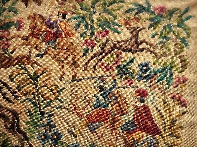 Horse Dog & Floral Petit Point Vintage Victorian Finished Completed Needlepoint