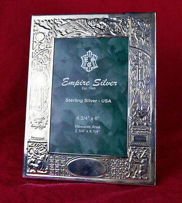 Empire Sterling Silver Birth Record Arrival Picture Frame Engraveable .925
