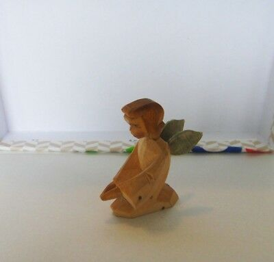 Vintage Erzgebirge Kneeling Angel EMIL HELBIG Germany Wooden Figurine