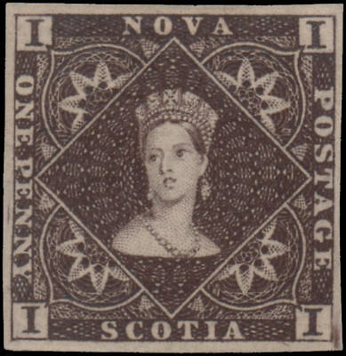 Canada-Nova Scotia #1 VF reprint in brown, original gum, Unitrade $125