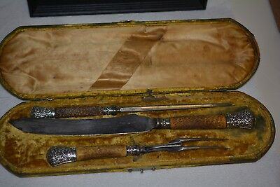 1880's Antique Sheffield Harrison Bros Howson Cutlers To Her Majesty Carving Set