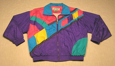Vintage CASUAL ISLE Nylon Windbreaker Jacket (90s) NEON! BROAD CITY! Womens S