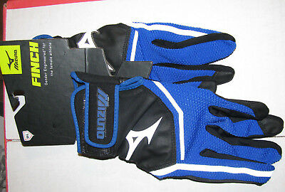 1 Pair Mizuno Finch Blue Black Batting Gloves Womens Fastpitch Softball Large L
