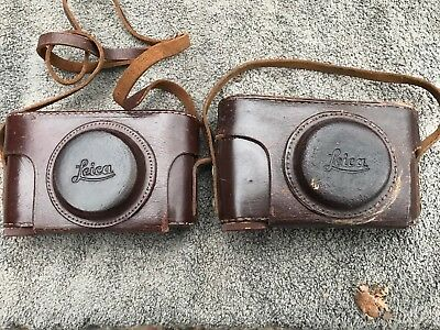 Lot Of (2) Vintage Leica Brown Leather Camera Cases Germany W Straps