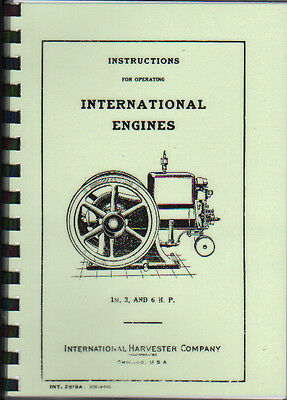 International Harvester 1.5, 3 & 6hp Stationary Engine Operating Parts Book
