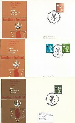 GB 1974 & 76 Northern Ireland Regional Machins FDCs Belfast cancels