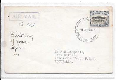 Samoa (Western)  - 1949 - 5d issue on FDC pmk Apia 8 JE 49  - unmounted