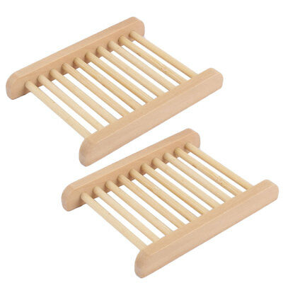 Bathroom Natural Wooden Shower Soap Holder Rack Tray 11.5 x 8.5cm 2pcs