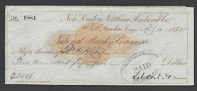 1872 New London Connecticut Railroad Check RN-C1