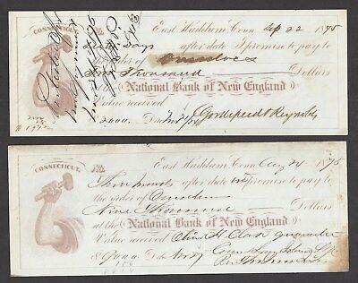 2 East Haddam Connecticut Promissory Notes 1875