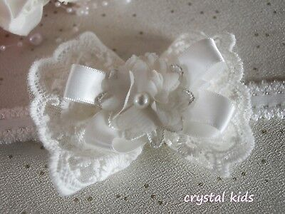 Girls Hair Bow Clip Christening Ivory Lace Flower Elasticated Headband HANDMADE