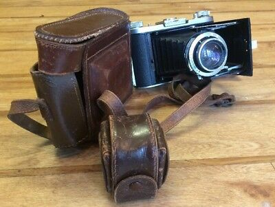 Rare Ross Ensign Selfix 820 Folding Camera With Filters, Hood And Case. Vintage