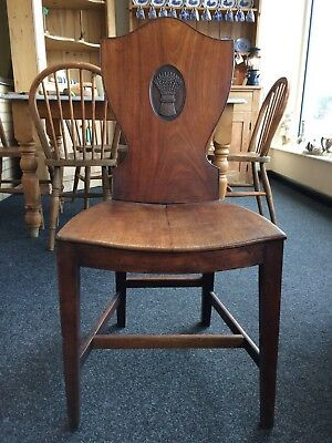 Antique Wheat Sheaf Sheraton Late 18th Century Mahogany Hall Chair