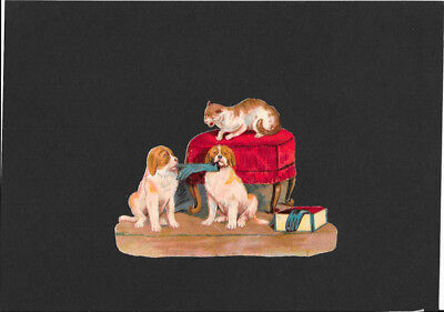 Victorian Die Cut Scrap - Dogs & Cat with Gloves