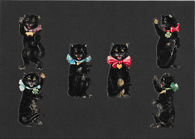 Victorian Die Cut Scrap - Black Cats