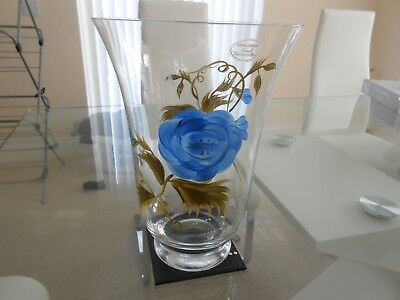 LAURA ASHLEY Made BLUE ROSE HAND DECORATED GLASS VASE - 25 X 16CM
