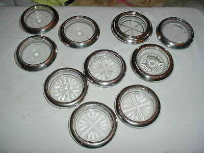 10 Vintage Glass Coasters with Sterling Ring