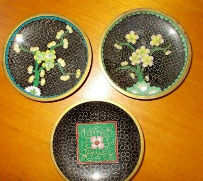 3 x  Chinese Cloisonne Enamel Pin Dishes - Floral / Flowers