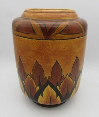LARGE Art Deco CLEWS & Co CHAMELEON Ware VASE Brown Flame Design
